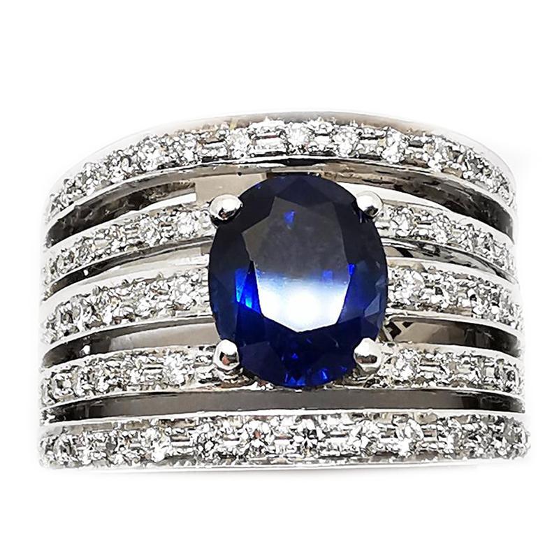 Anello a fascia con Diamanti bianchi e Zaffiro