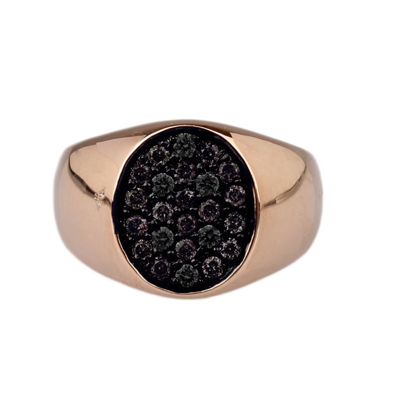 Anello mignolo in oro rosa e diamanti neri