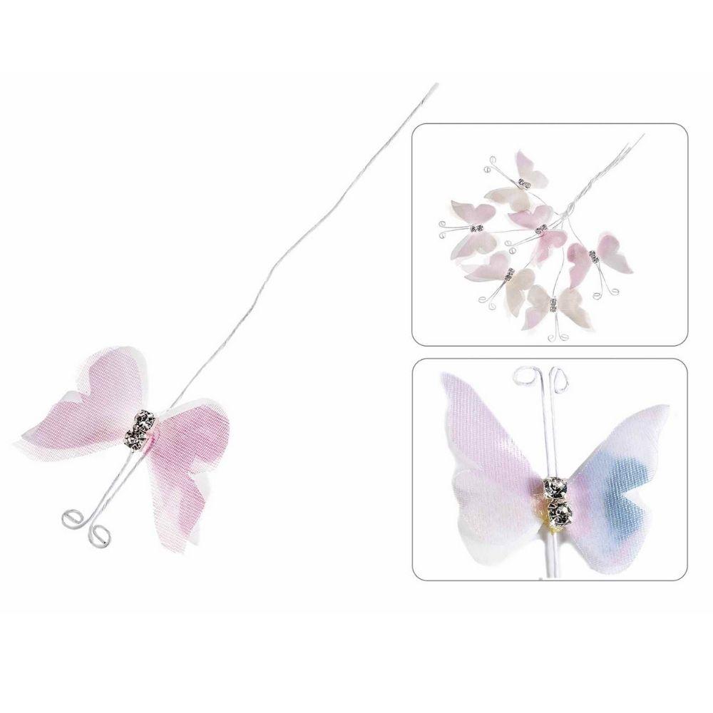 Farfalla in stoffa con brillantini e gambo modellabile