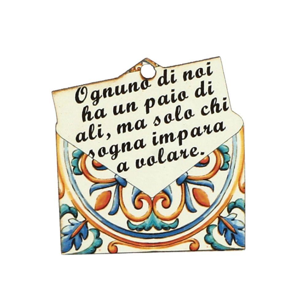 Applicazione in legno busta lettera frase ali