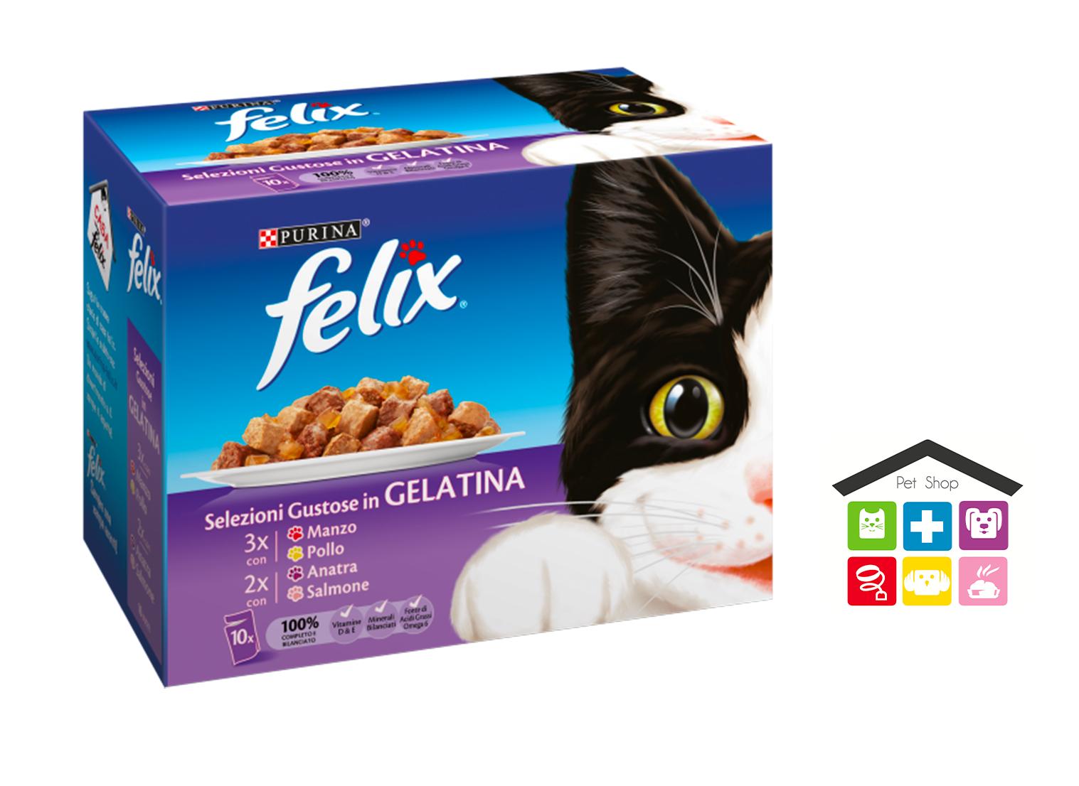 FELIX Gatto Selezioni in Gelatina con Manzo, con Pollo, con Anatra e con Salmone 10 x 100 g