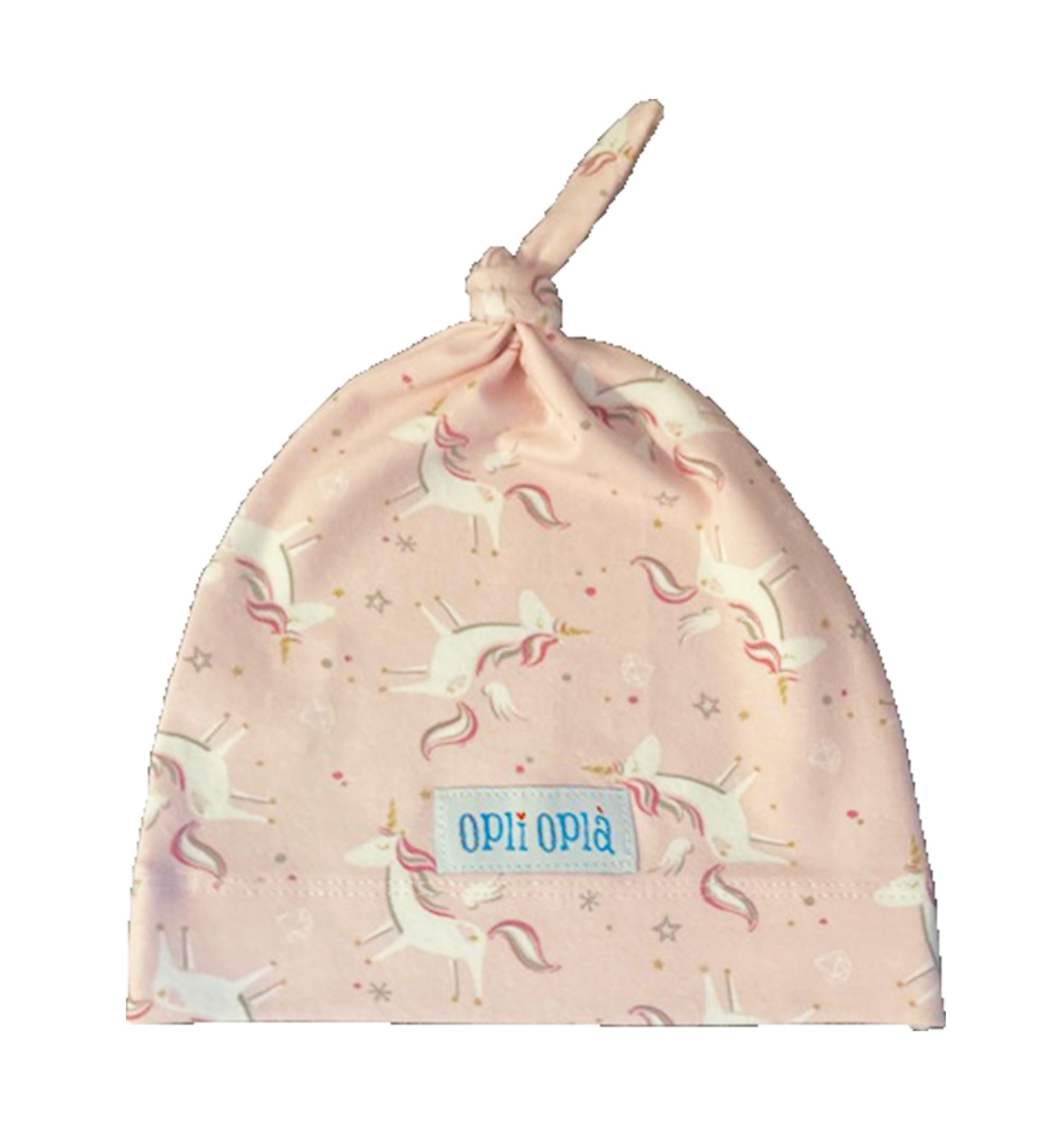 Unicorni rosa - cuffia in cotone un nodo