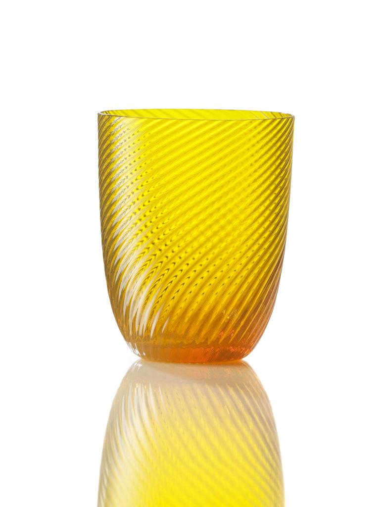 Bicchiere Idra Rigato Ritorto Giallo