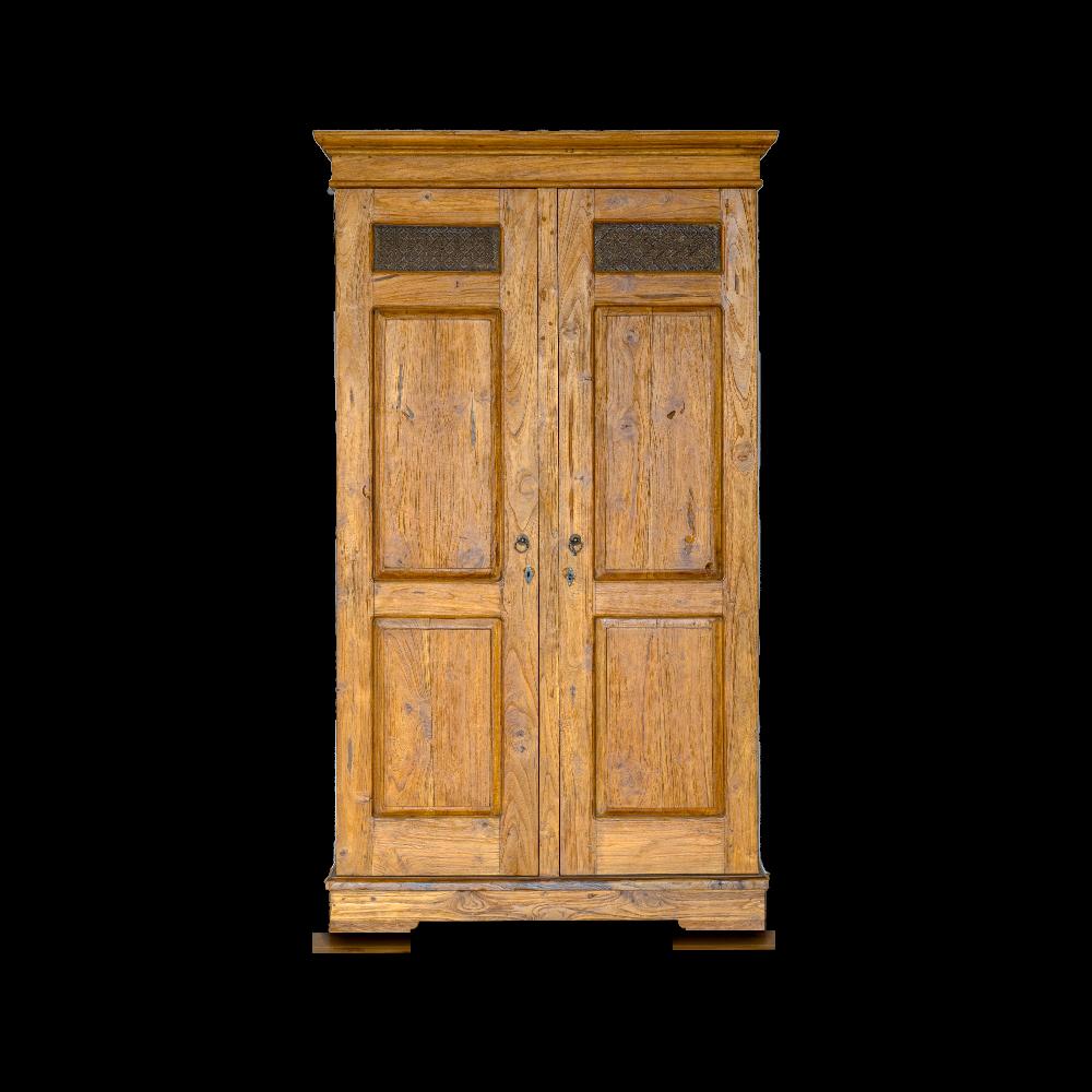 Armadio / Credenza in legno di teak recuperato balinese con vetri antichi verdi
