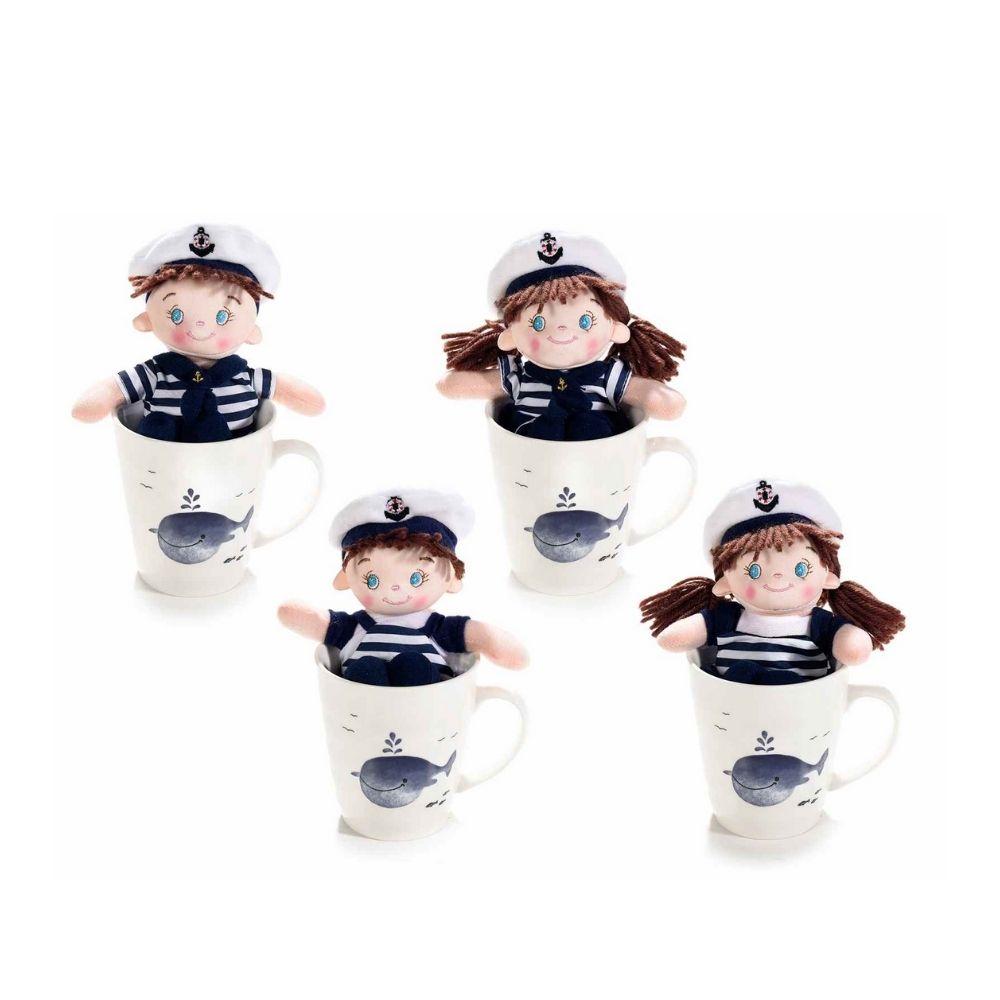 Tazza mug porcellana con decoro balena e bambola marinaio