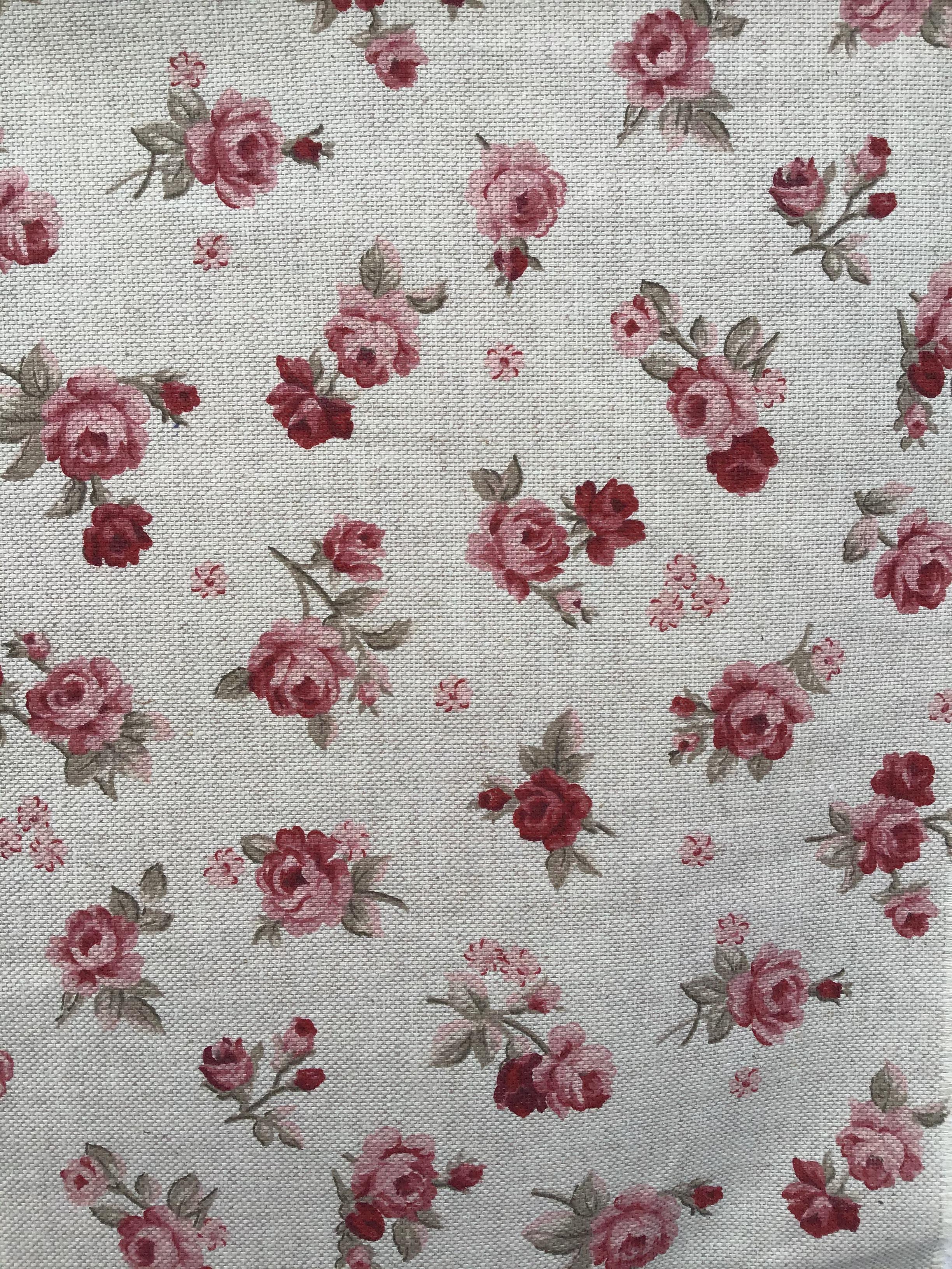 Tessuto Panama roselline rosa