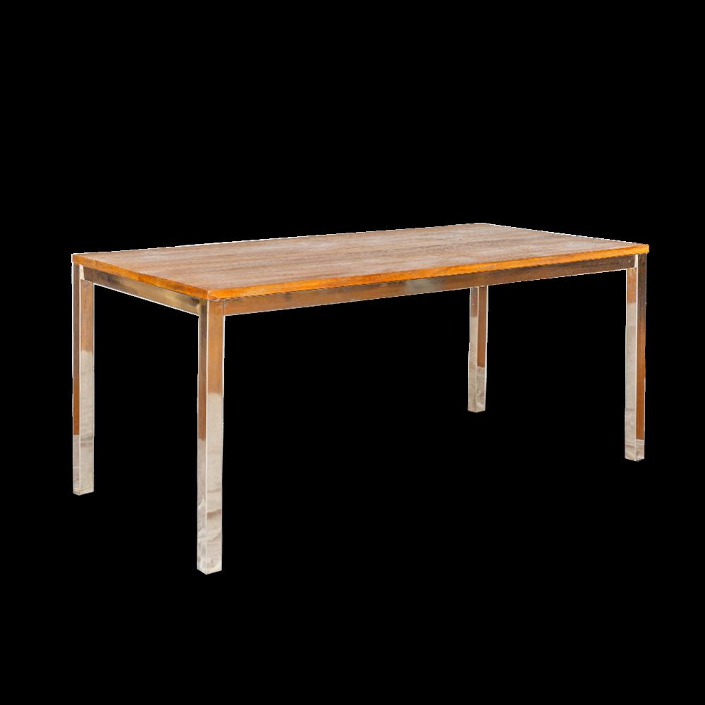 Tavolo con top in legno di palissandro opaco e gambe in acciaio inox