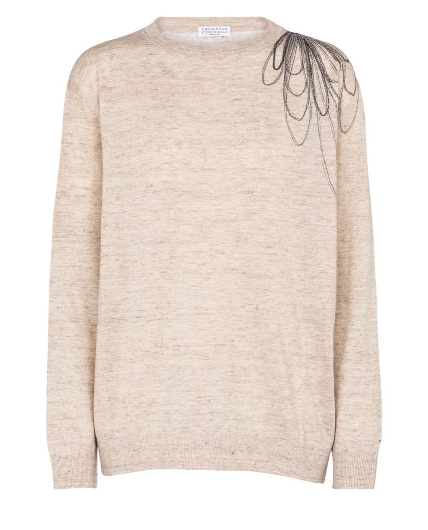 Pullover lino cotone con ricamo Brunello Cucinelli