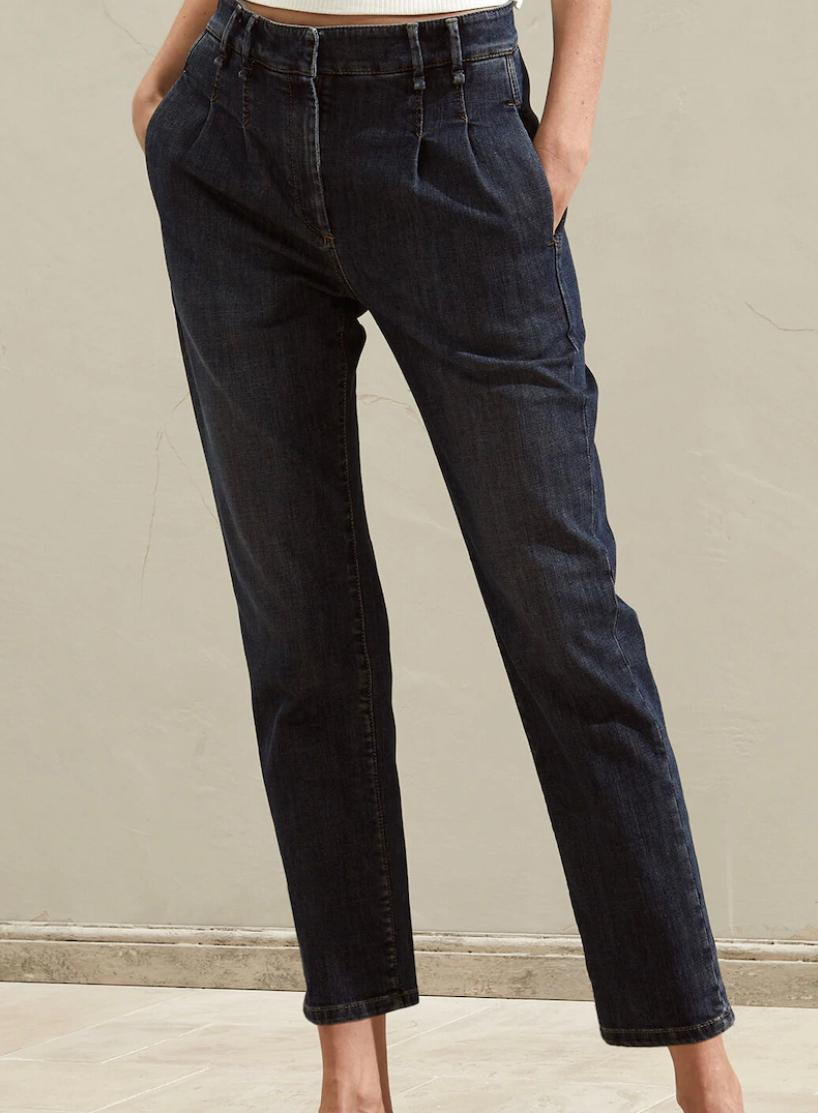 Pantalone Pleated Chino in denim di cotone