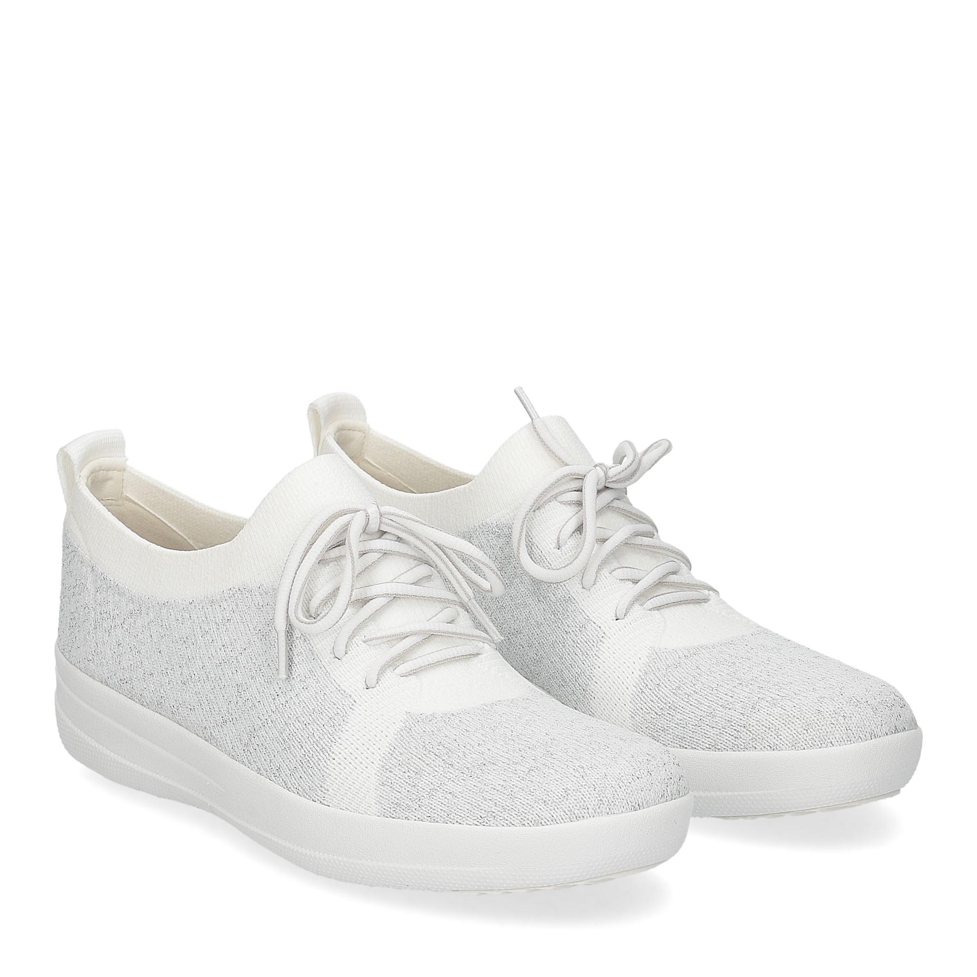 Fitflop F-Sporty uberknit sneaker white metallic silver
