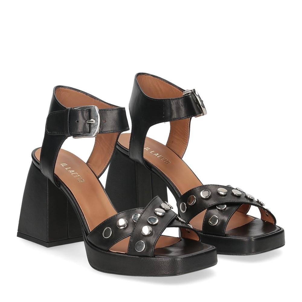 Il Laccio sandalo A1208 in pelle nera
