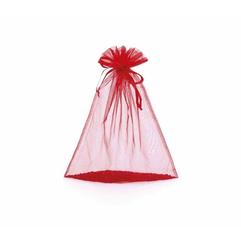 Sacchetto in organza rosso fragola cm 12 x 16 con tirante