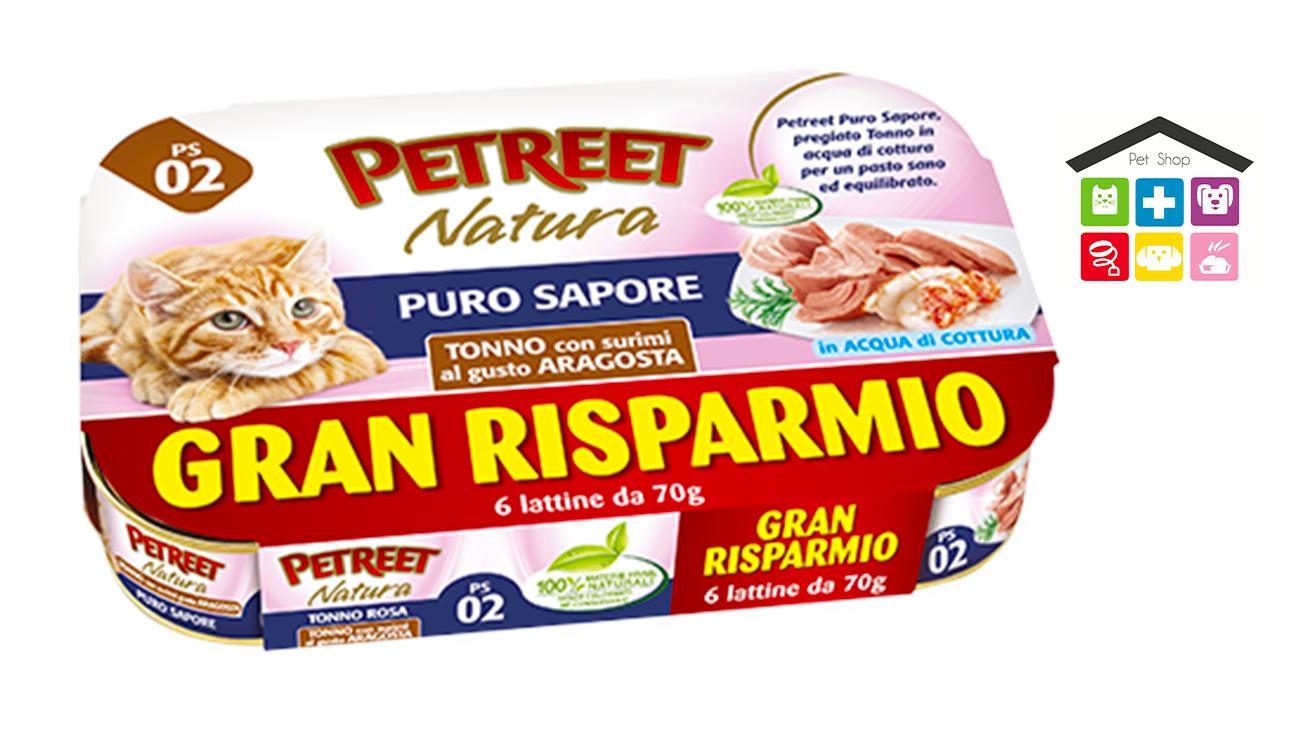 Petreet Umido Natura per Gatti - Multipack Tonno puro sapore surimi al gusto si aragosta 6x 70g