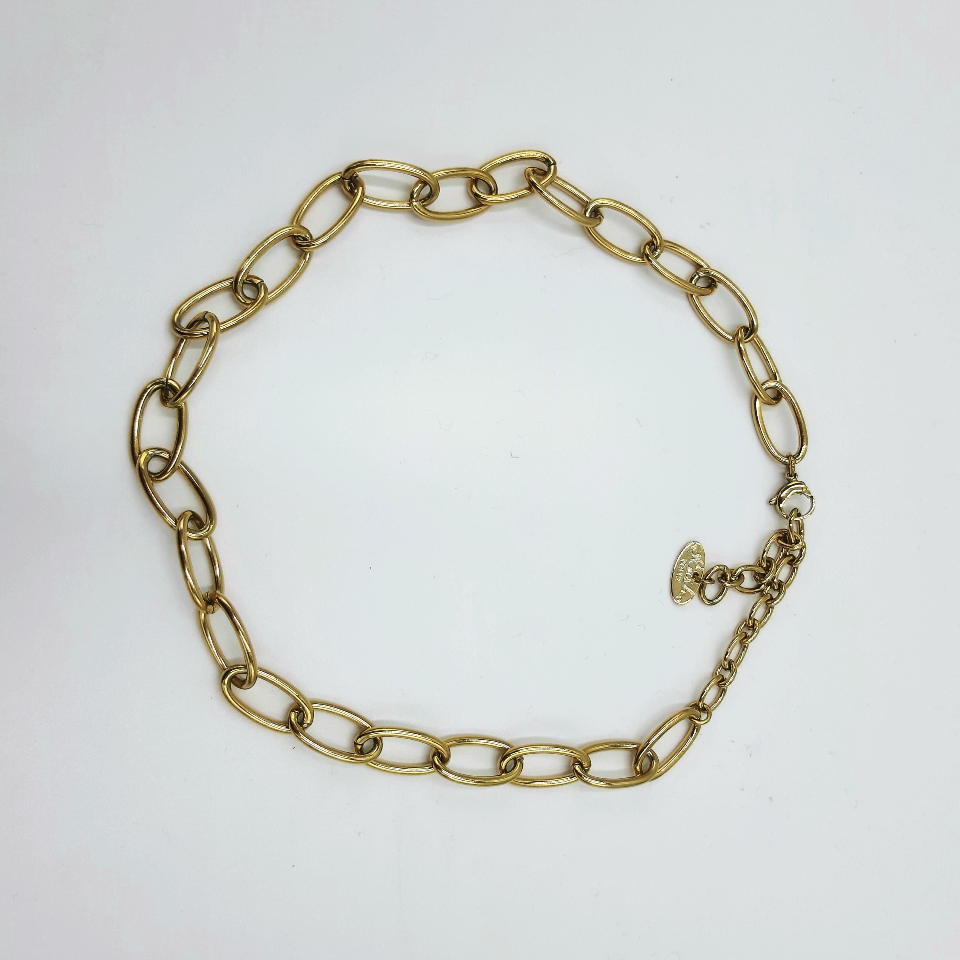 Collana a catena con anelli fini oro Rush