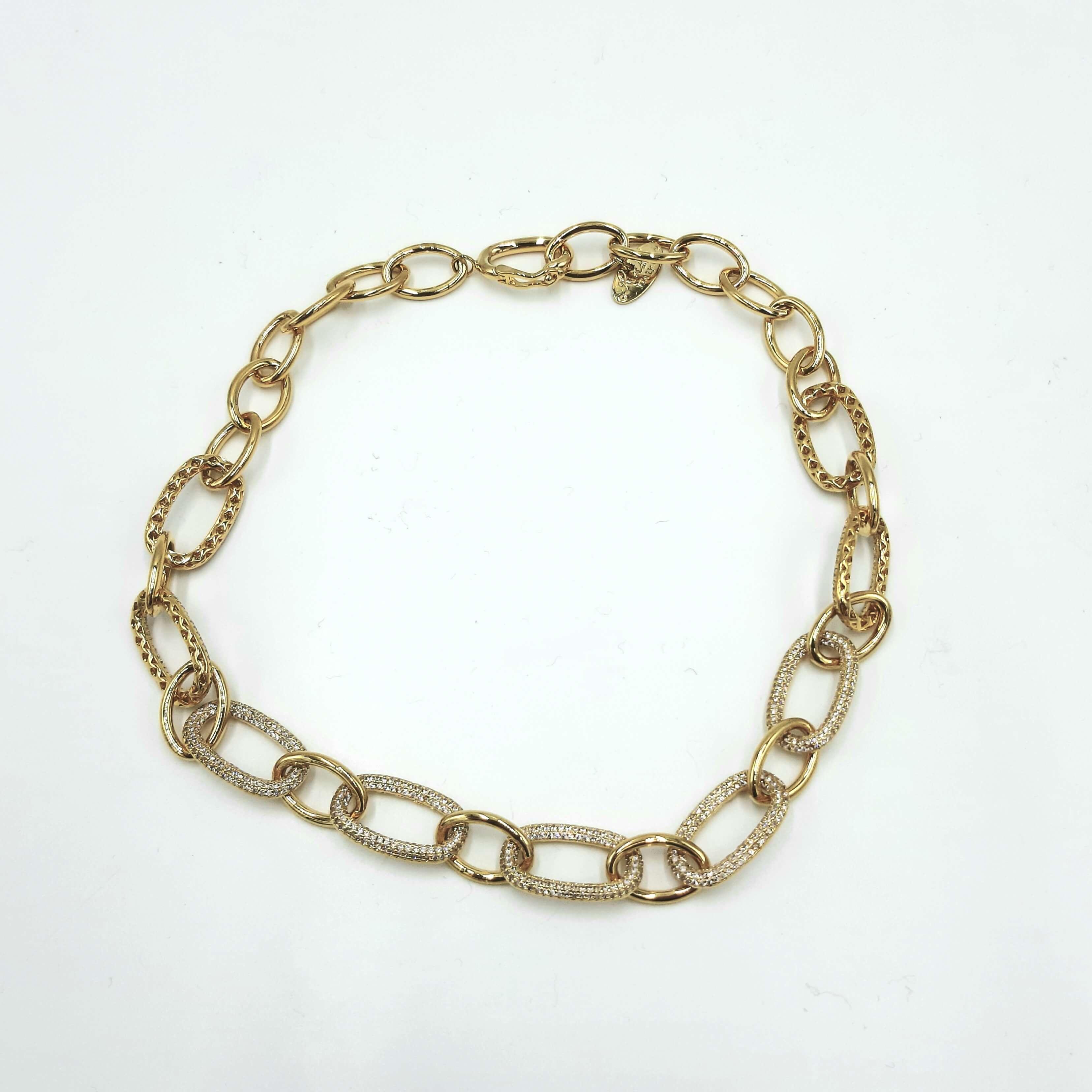 Collana oro in metallo e cristallo Rush