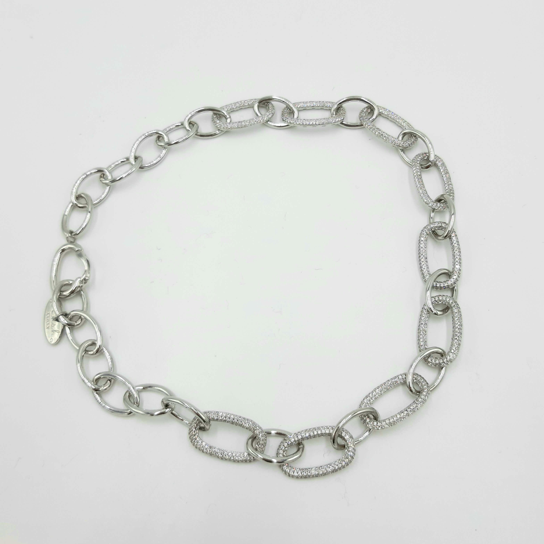 Collana argento in metallo e cristallo Rush