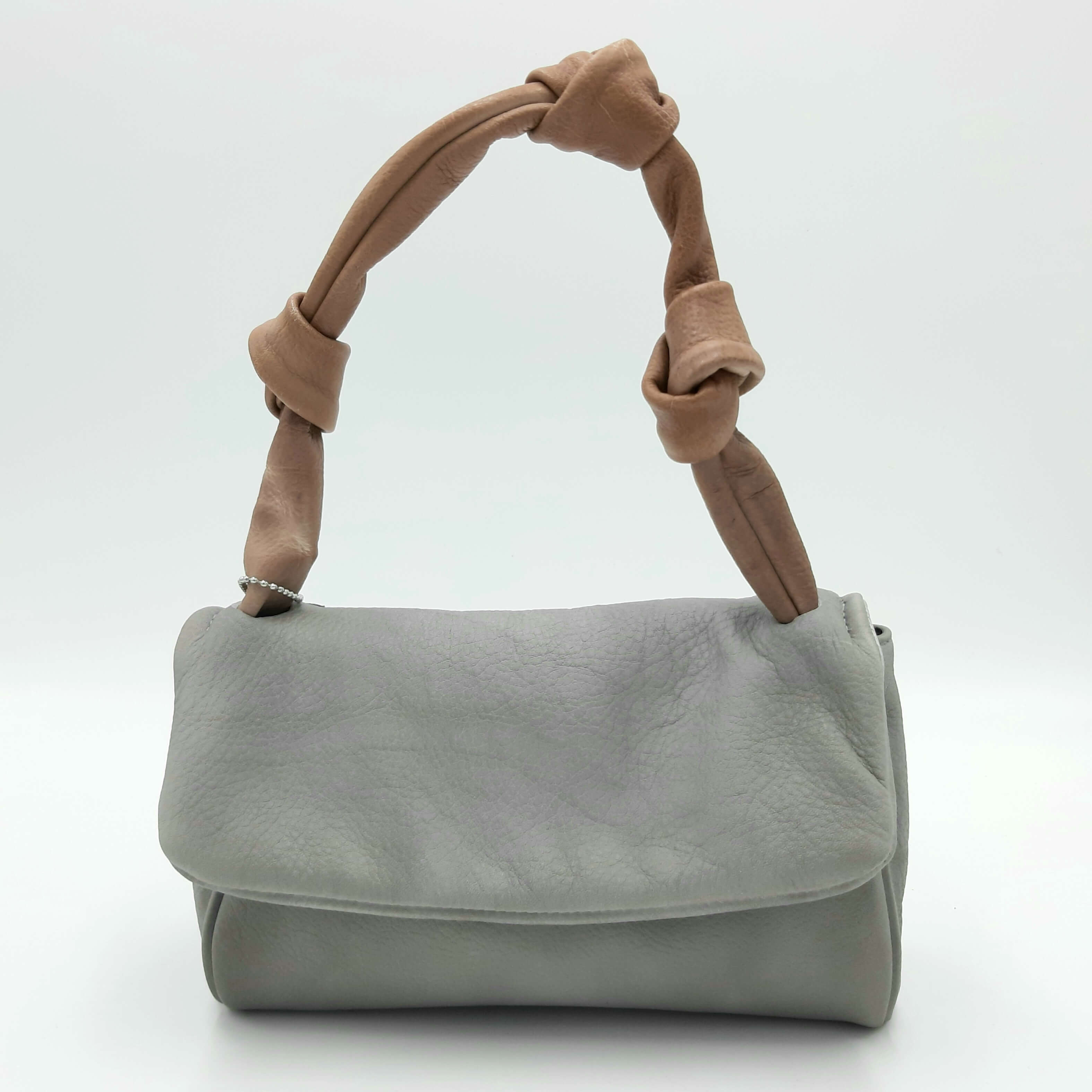 Borsa a spalla grigia in pelle lavata Collection Privée