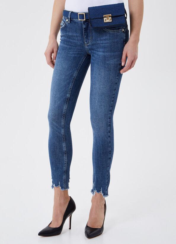 LIU JO UA1001D4391 Jeans bottom up ideal con marsupio/pochette