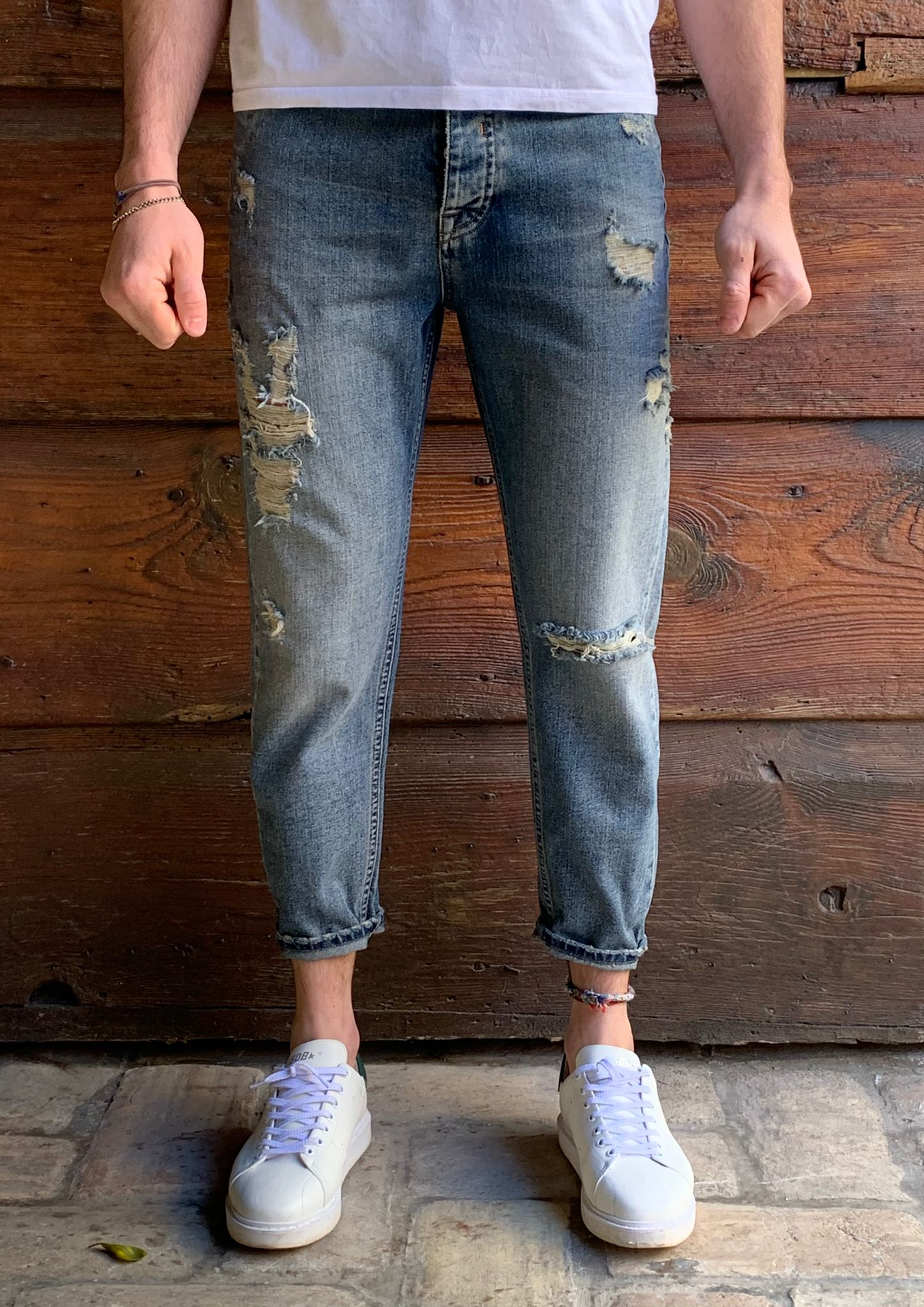 JEANS CROPPED ROTTURE BL11
