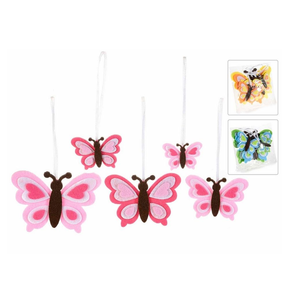 15 farfalle in panno colorato da appendere