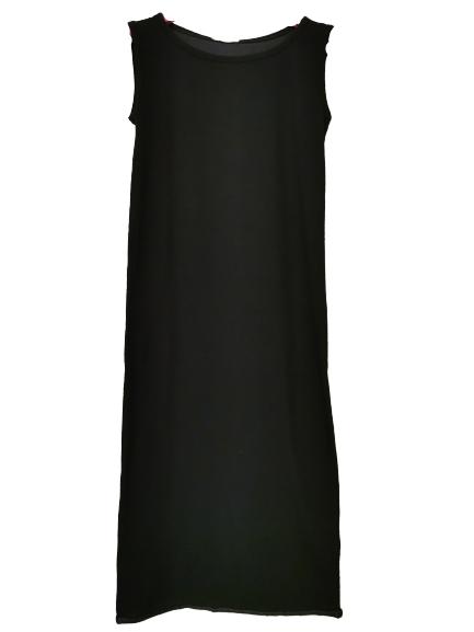 Canotta donna | in cotone nero | lunga sopra al ginocchio |spalla larga | girocollo | Made in Italy