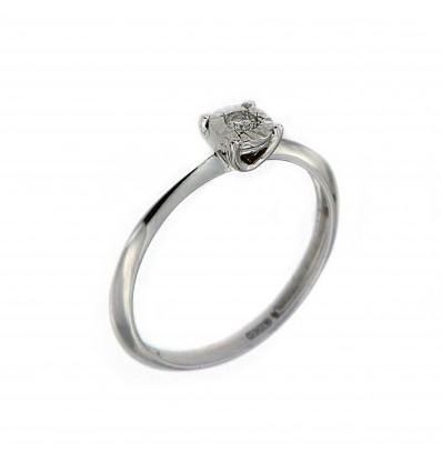 Anello oro bianco e diamante Parure Diamante Miluna solitario LID3223