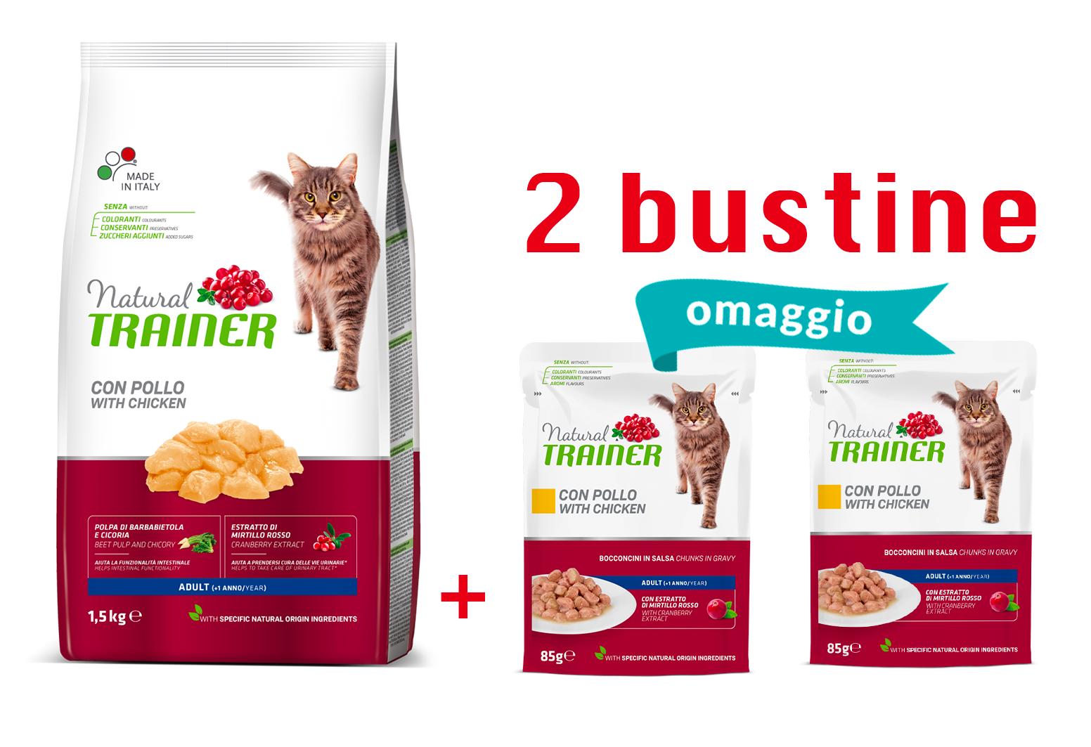 NATURAL TRAINER | LINEA SECCO GATTO - ADULT | POLLO  kg 1.5 kg