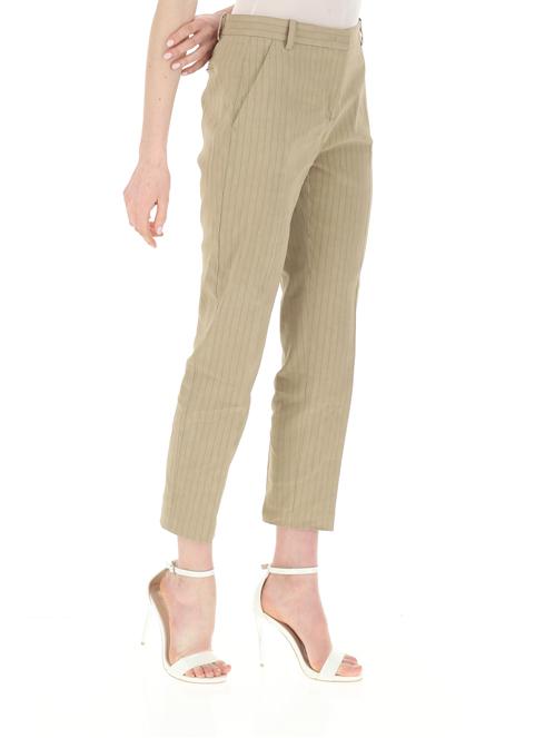 Pantalone Bello 102 cigarette-fit gessati in lino Pinko