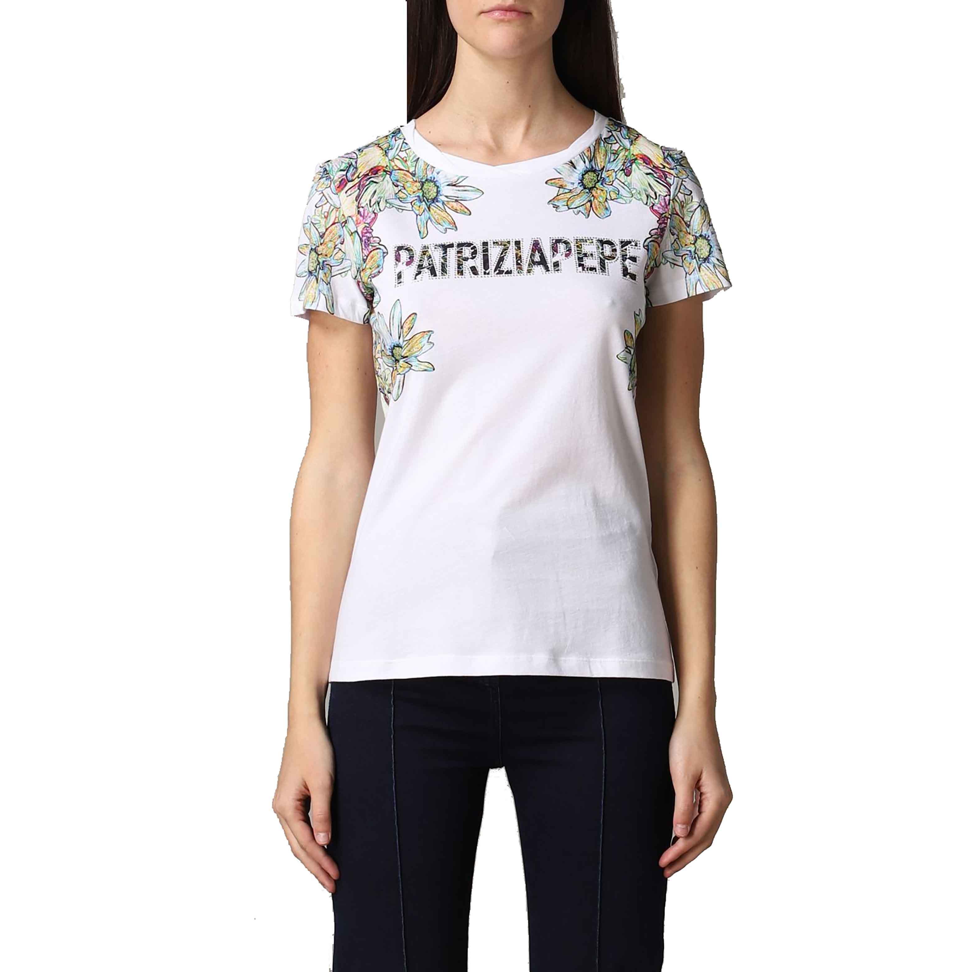 T shirt stampa fiori bianca - PATRIZIA PEPE