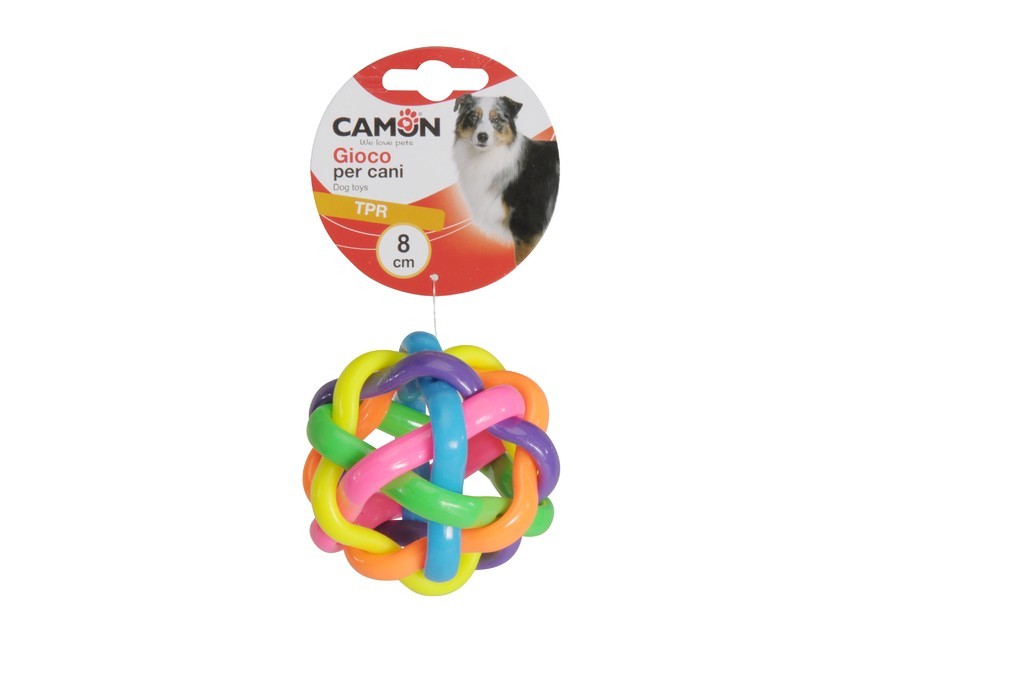 Palla annodata in tpr colorata per cani Camon