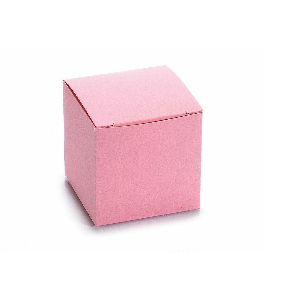 Scatola cubo in carta rosa cm 5 x 5 x 5 H