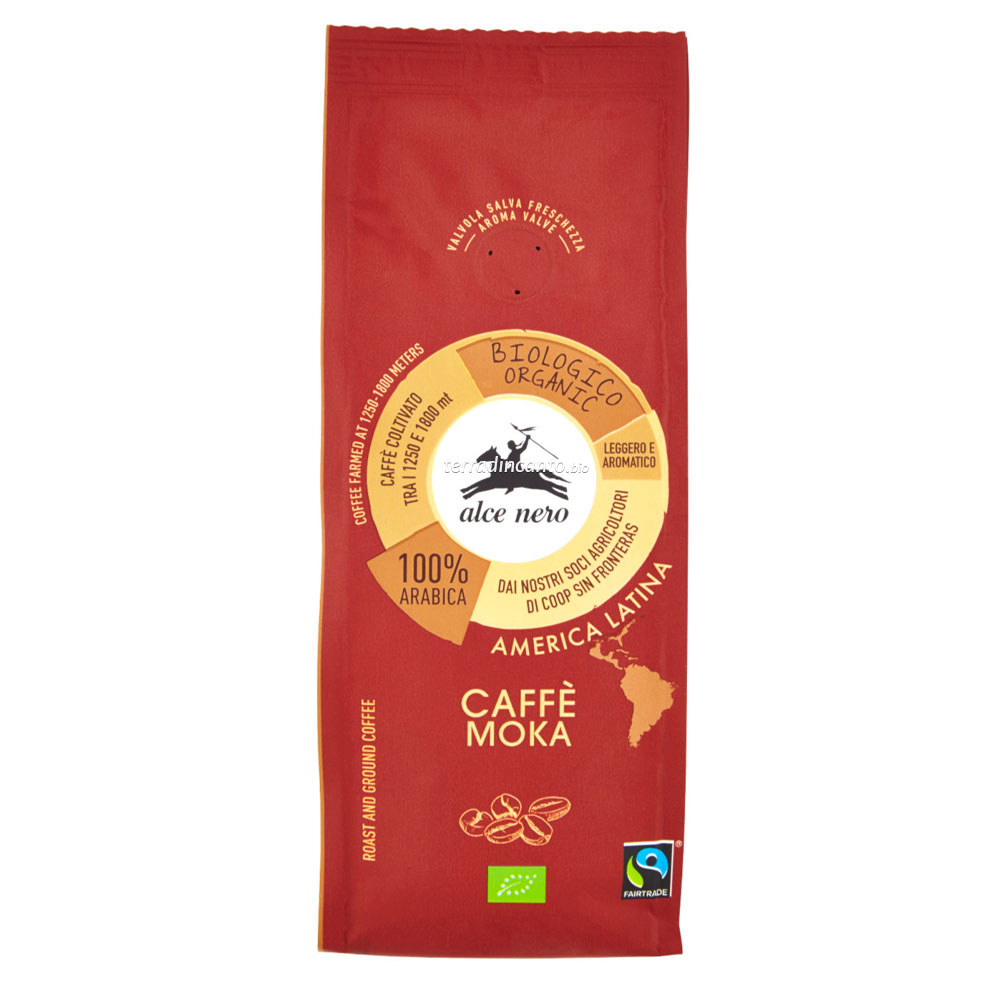 Caffè 100% arabica per moka Alce nero fairtrade