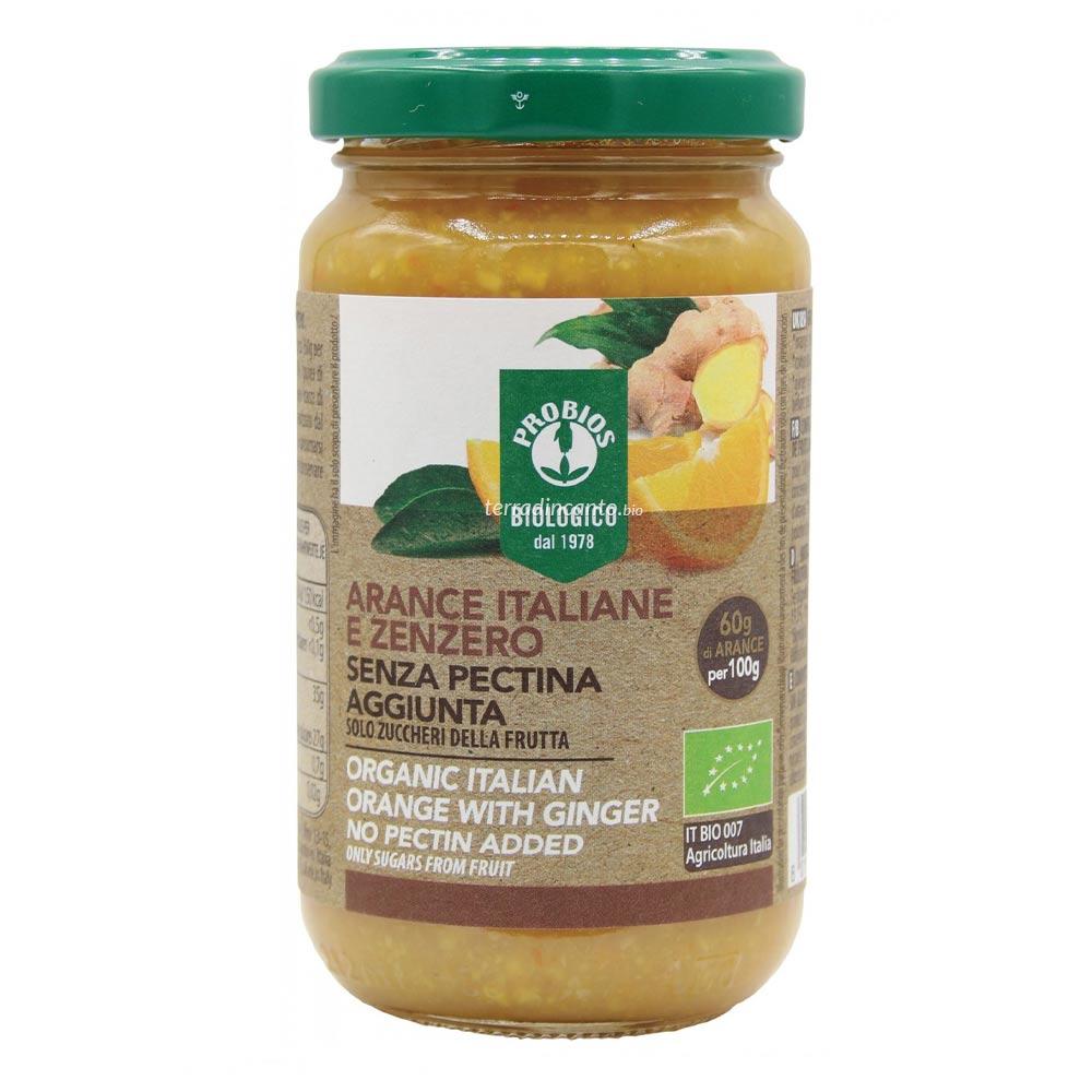 COMPOSTA ARANCE ITALIANE E ZENZERO - senza pectina aggiunta  220 g  PROBIOS