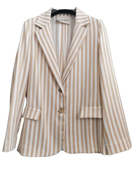 giacca donna | in viscosa di cotone | gessata beige | fondo panna | chiusura con due  bottoni |manica lunga | tasche anteriori | spacco centrale posteriore | made in Italy