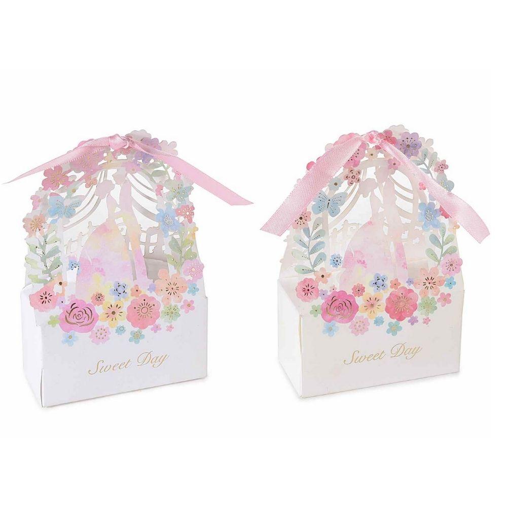 Scatolina portaconfetti Sweet day in carta colorata cm 7,7 x 3,5 x 12 H