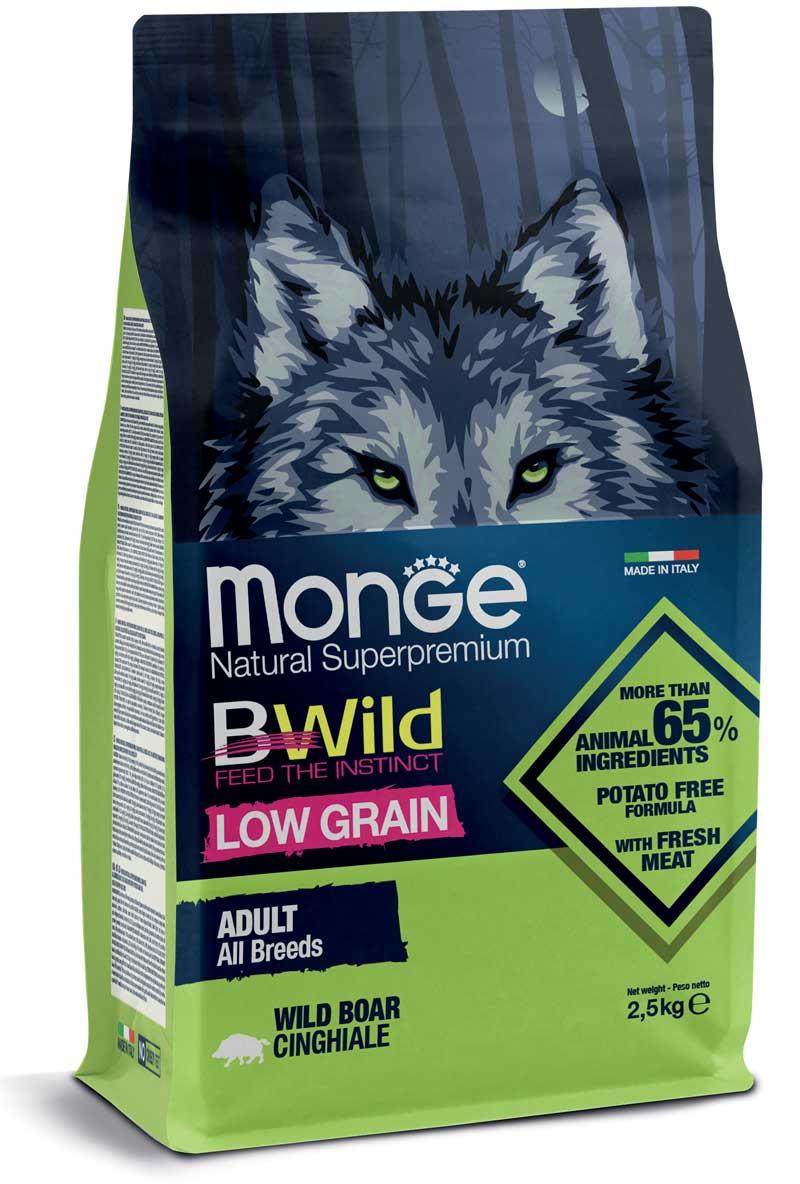 Monge cane Low Grain – Cinghiale – All Breeds Adult Formato: 2,5 kg o 12 kg