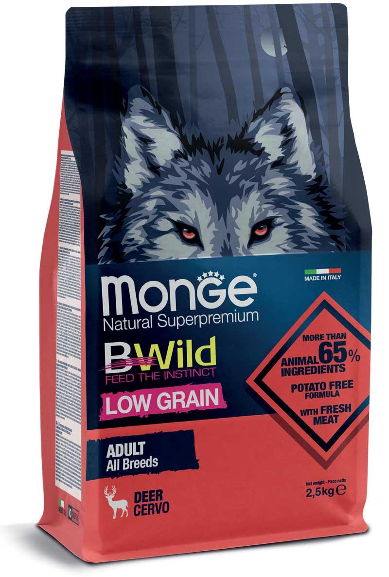 Monge cane Low Grain – Cervo – All Breeds Adult  2,5 kg o 12 kg