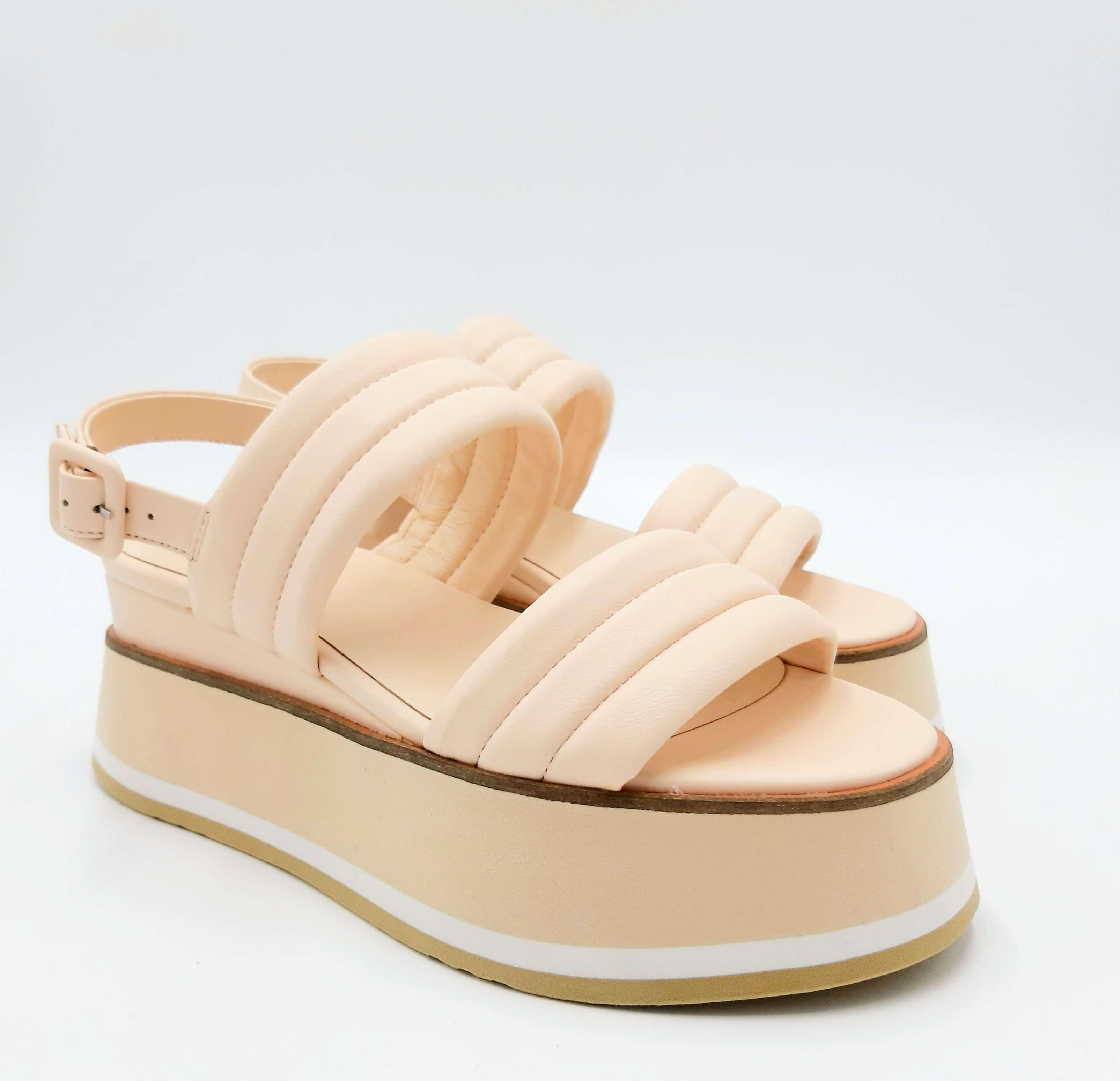 Sandalo rosa pallido con zeppa alta Jeannot