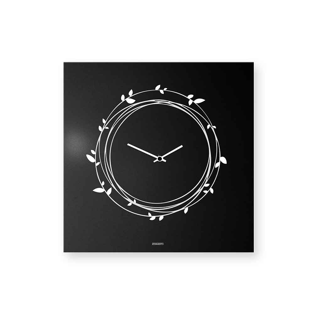 Orologio da muro Nest laccato nero 50x50 cm