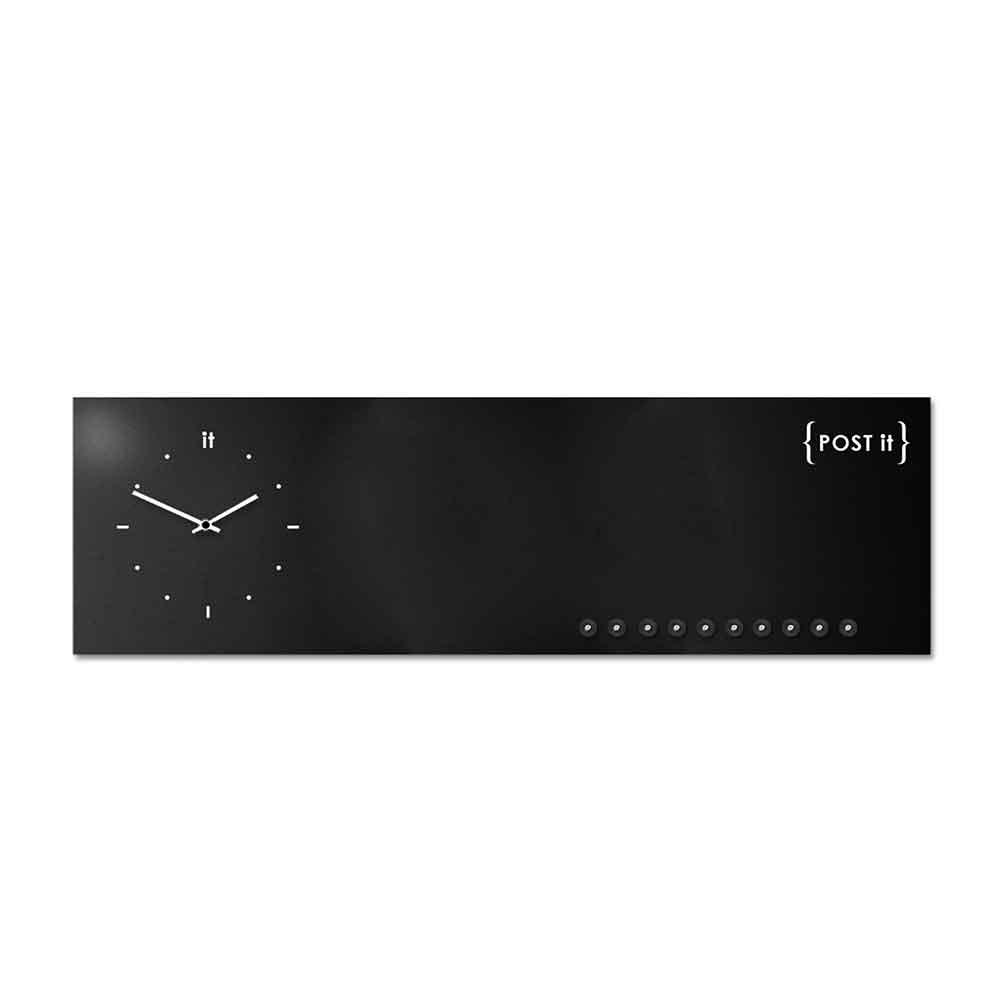 Orologio da muro con organizer Post-it nero 100x30 cm
