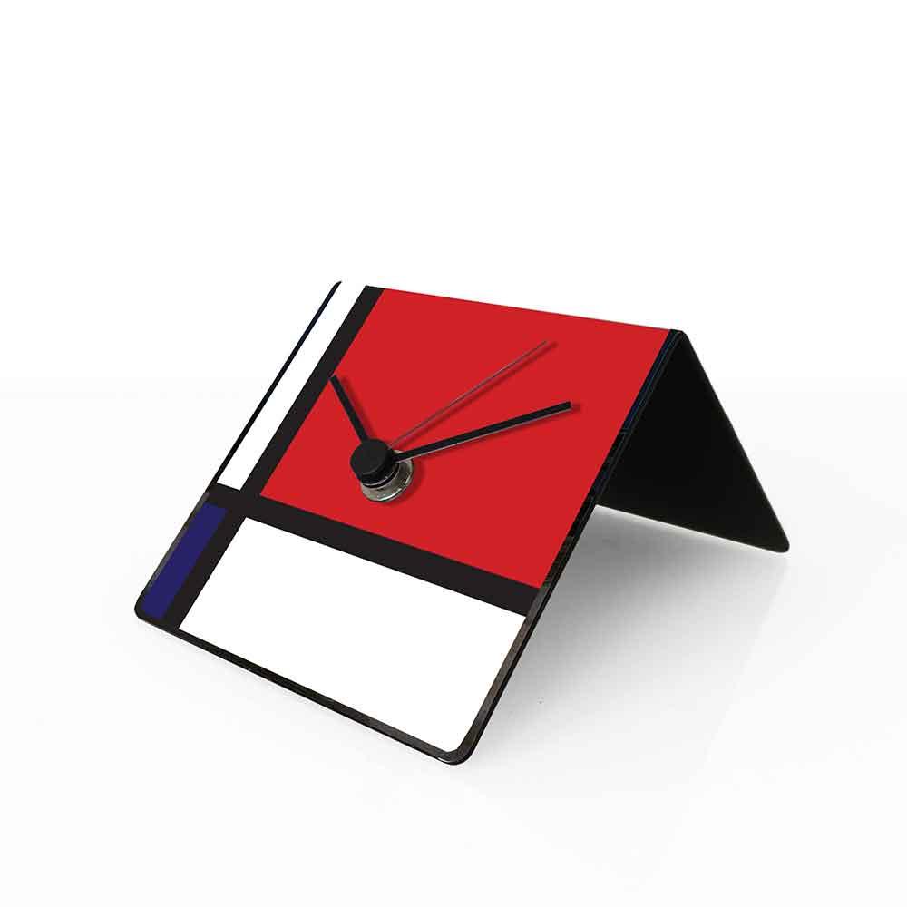 Orologio da tavolo con calendario perpetuo Arte Mondrian 10x10x10 cm