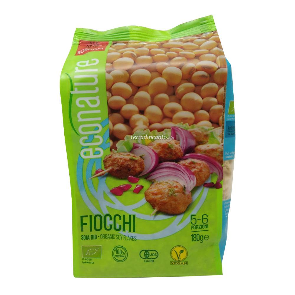 Fiocchi di soia - alimento a base di farina di soia estrusa, ottenuta da semi di soia pressati a freddo Eco nature