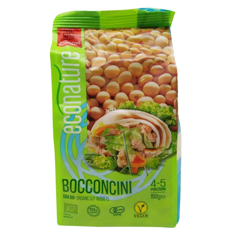 Bocconcini di soia - alimento a base di farina di soia estrusa, ottenuta da semi di soia pressati a freddo Eco nature