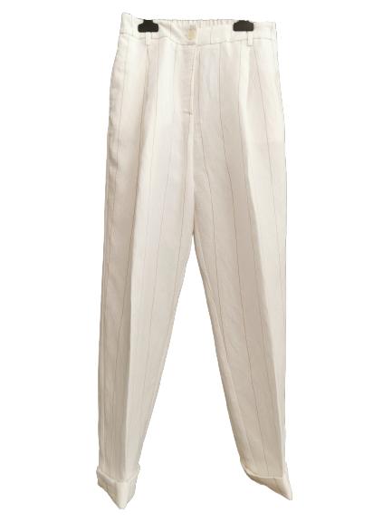 Pantalone donna | in lino beige gessato | modello baggy | con tasche laterali | pinces | elastico dierto | made in Italy