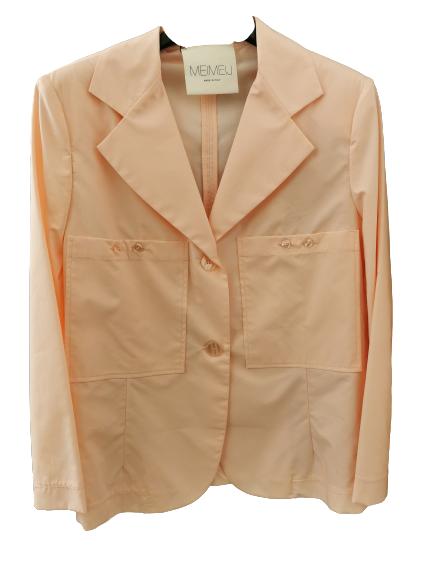 Giacca donna | rosa chiaro | 100% cotone | manica lunga || tasche anteriori applicate | collo reverse | chiusura con bottoni | Made in Italy