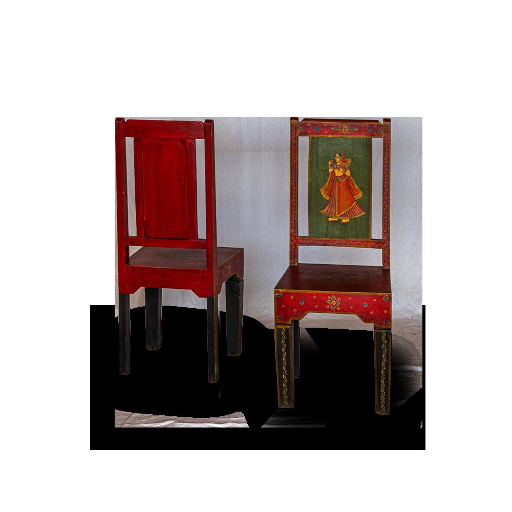 Sedia in legno di acacia dipinta a mano