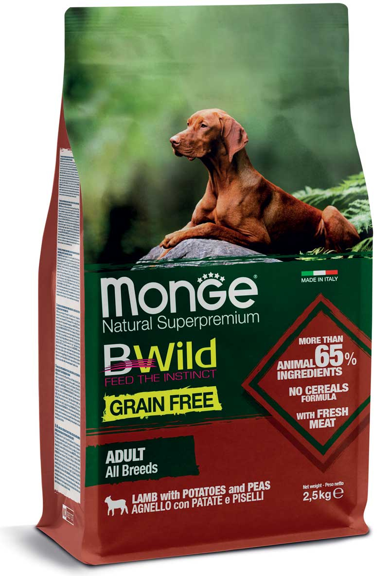Monge cane Grain Free – Agnello con Patate e Piselli – All Breeds Adult 12 kg