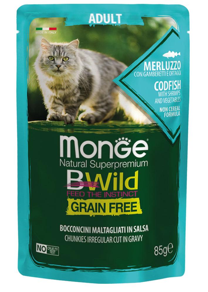 Monge bwild gatto Grain Free – Bocconcini maltagliati in salsa – Merluzzo con Gamberetti e Ortaggi – Adult