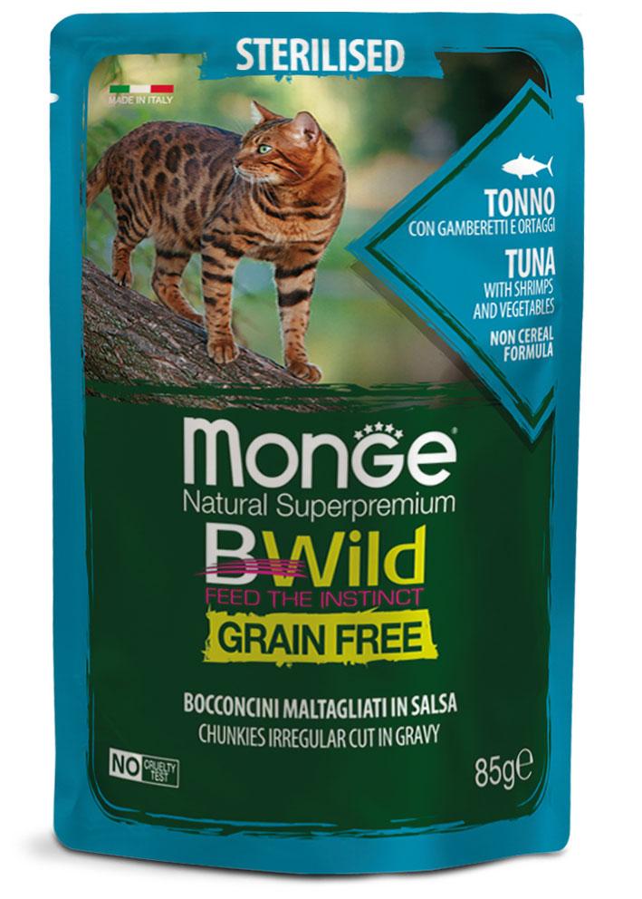 Monge bwild gatto Grain Free – Bocconcini maltagliati in salsa – Tonno con Gamberetti e Ortaggi – Sterilised