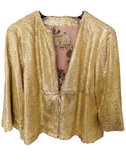 Giubbino donna|pelle lavorata oro|piccole frange|fodera in raso|Made in Italy